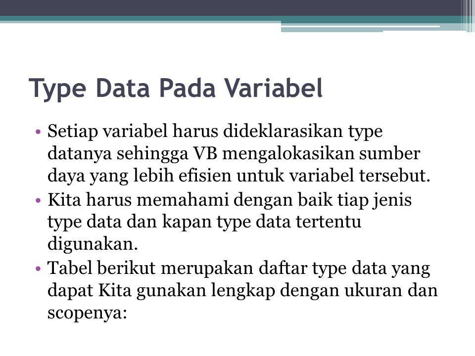 Type Data Pada Variabel