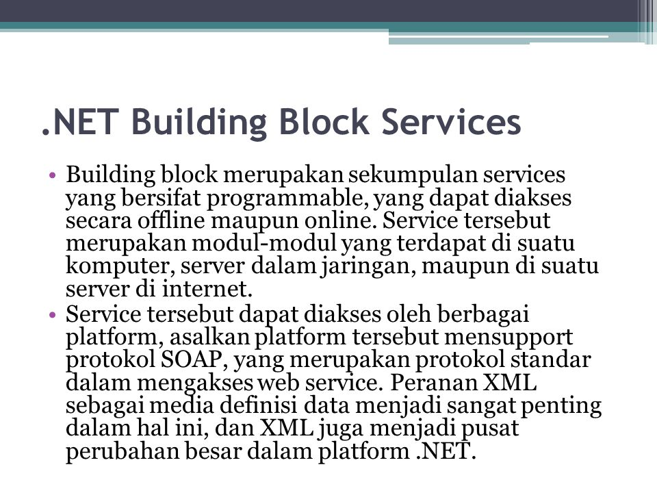 .NET Building Block Services