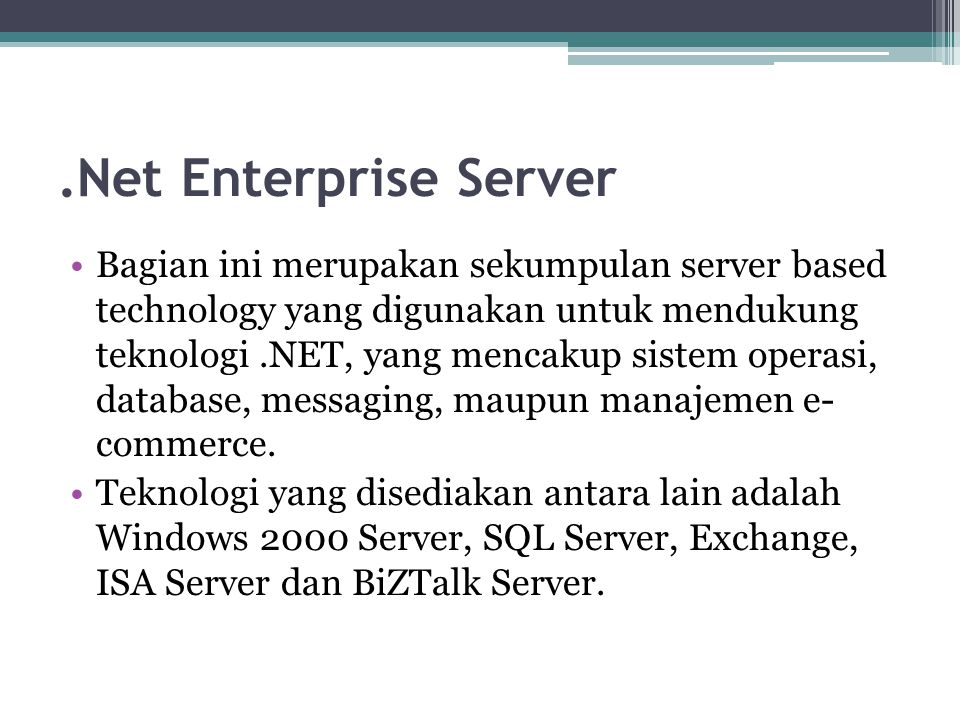 .Net Enterprise Server