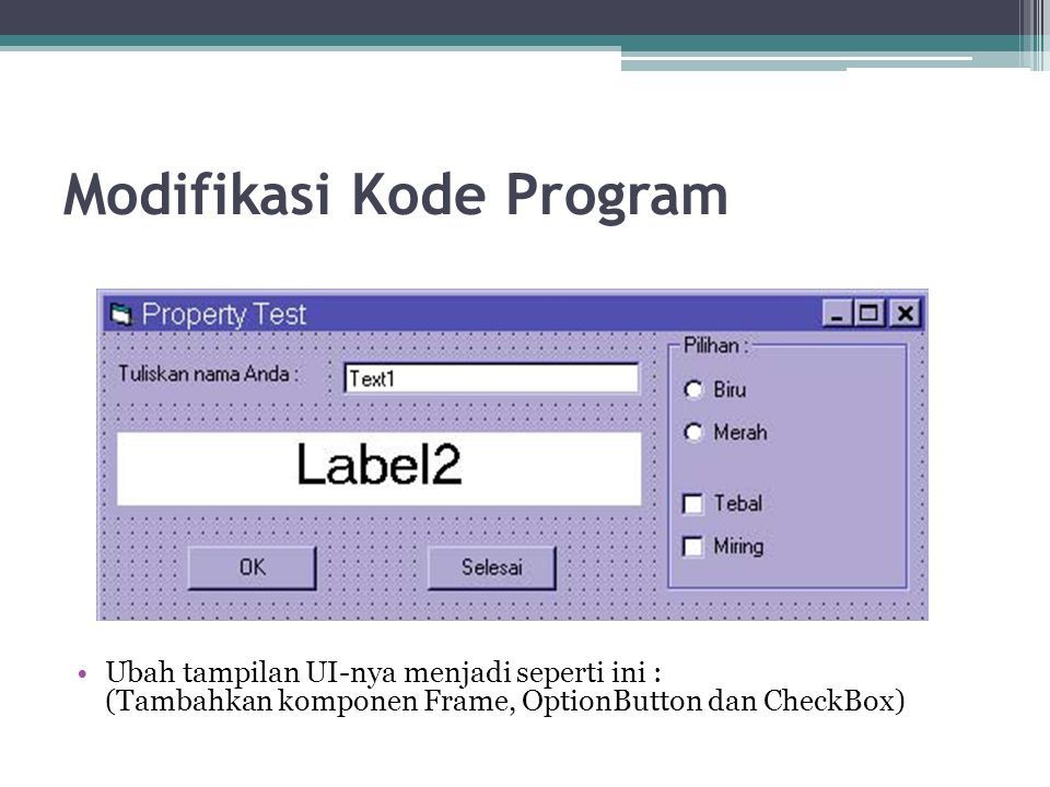 Modifikasi Kode Program