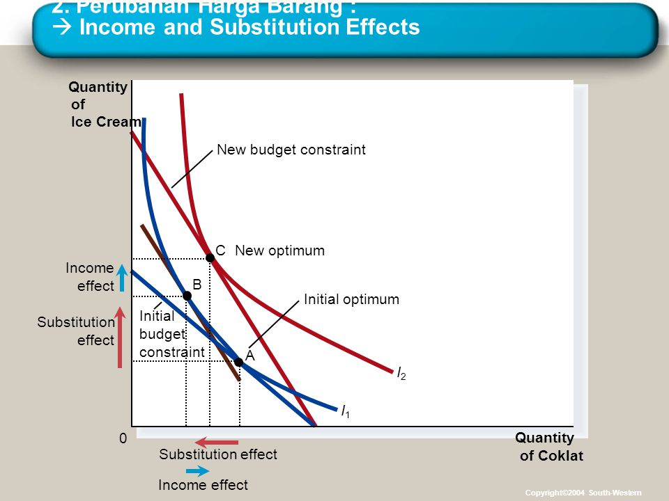 2. Perubahan Harga Barang :  Income and Substitution Effects