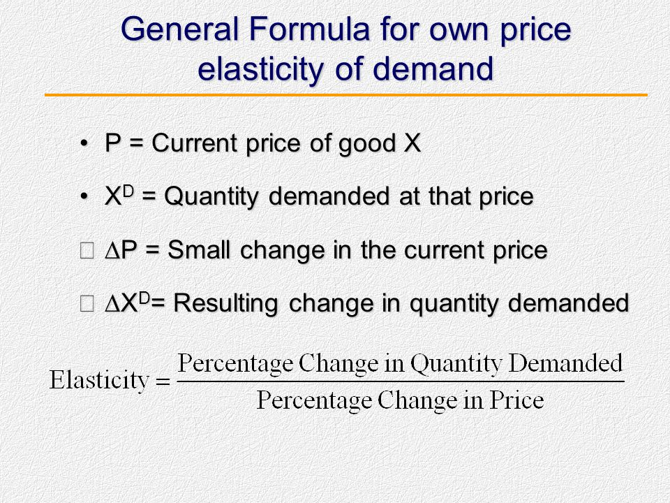 General Formula for own price elasticity of demand