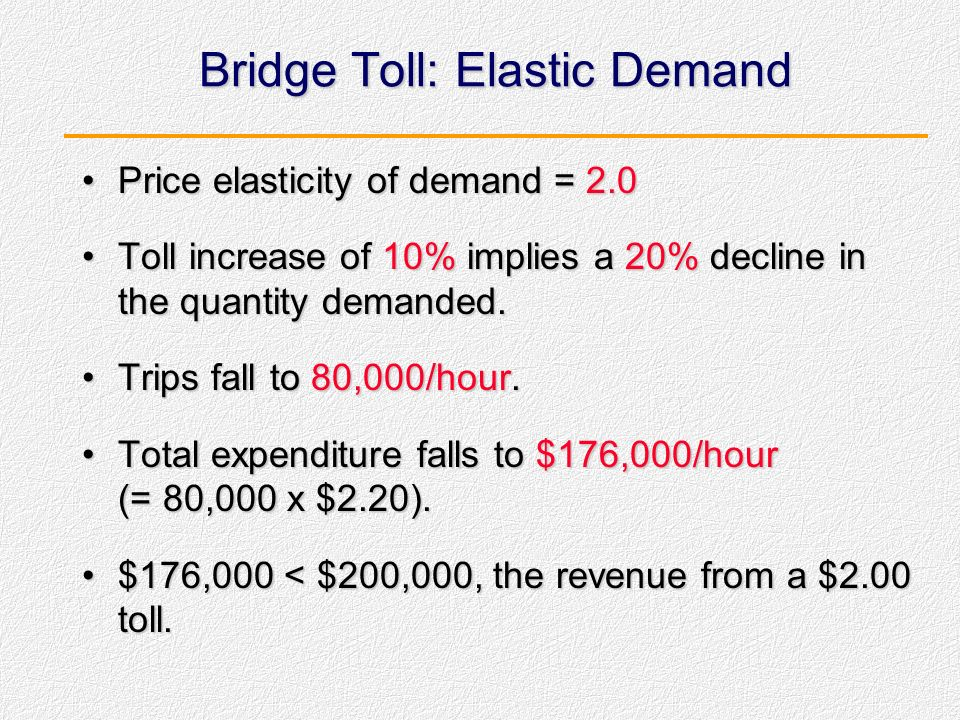Bridge Toll: Elastic Demand
