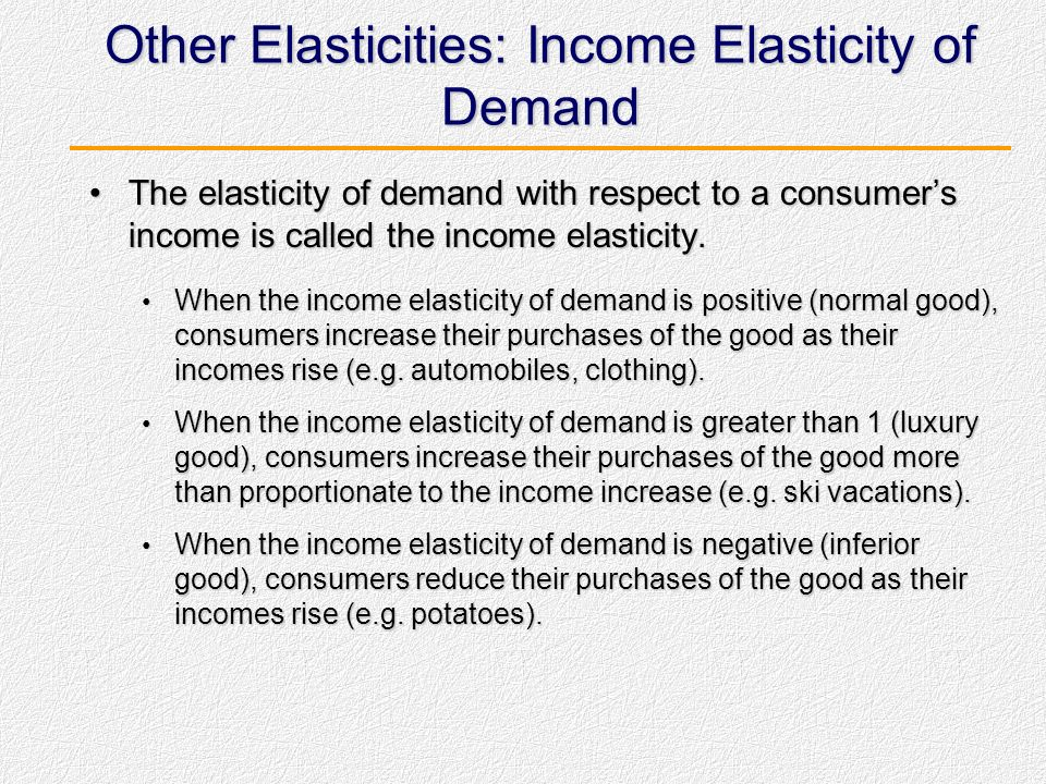 Other Elasticities: Income Elasticity of Demand