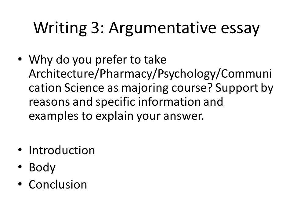 Writing 3: Argumentative essay
