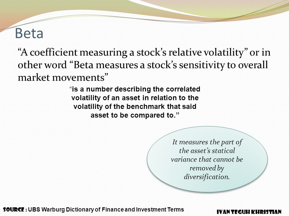 Beta A coefficient measuring a stock's relative volatility or in other word Beta measures a stock's sensitivity to overall market movements
