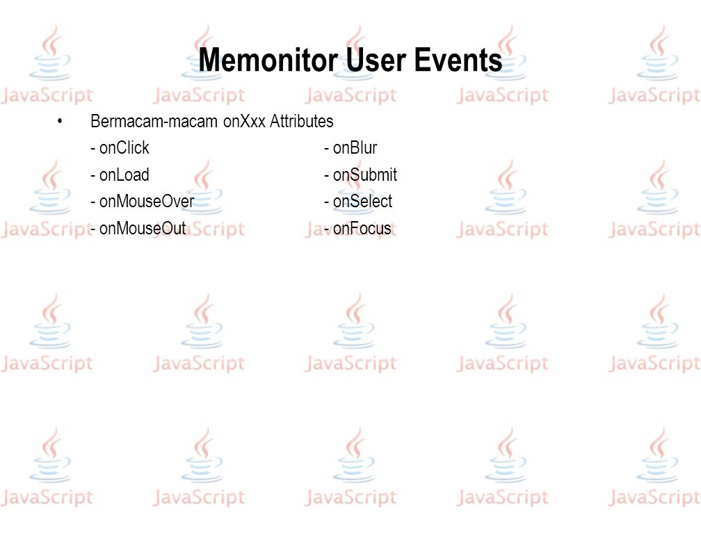 Memonitor User Events Bermacam-macam onXxx Attributes
