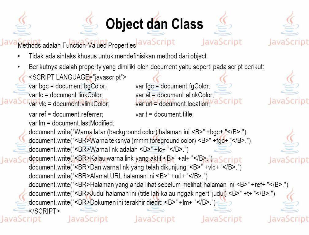 Object dan Class Methods adalah Function-Valued Properties