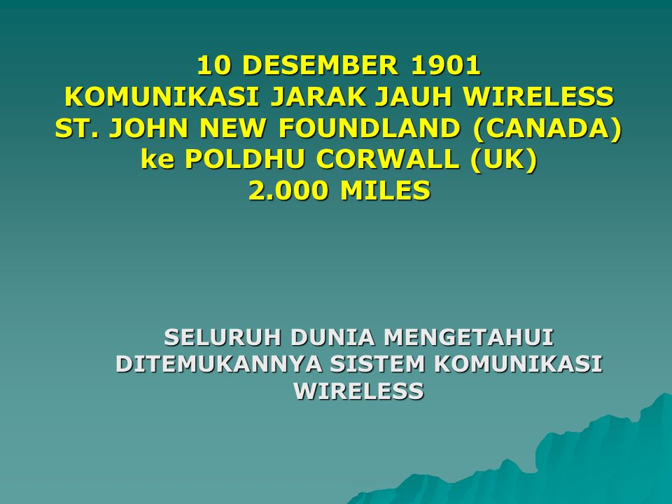 KOMUNIKASI JARAK JAUH WIRELESS ST. JOHN NEW FOUNDLAND (CANADA)