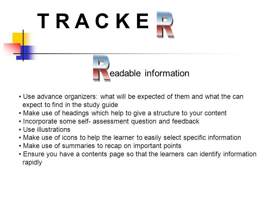 T R A C K E R R eadable information