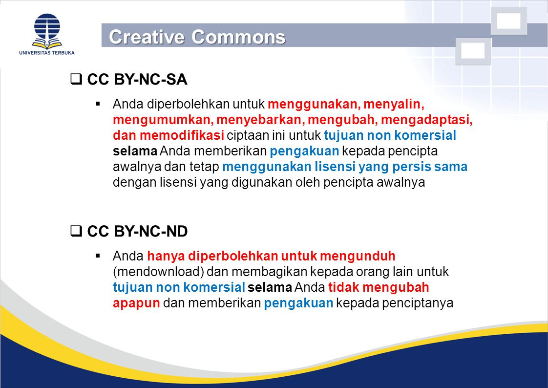 Creative Commons CC BY-NC-SA CC BY-NC-ND