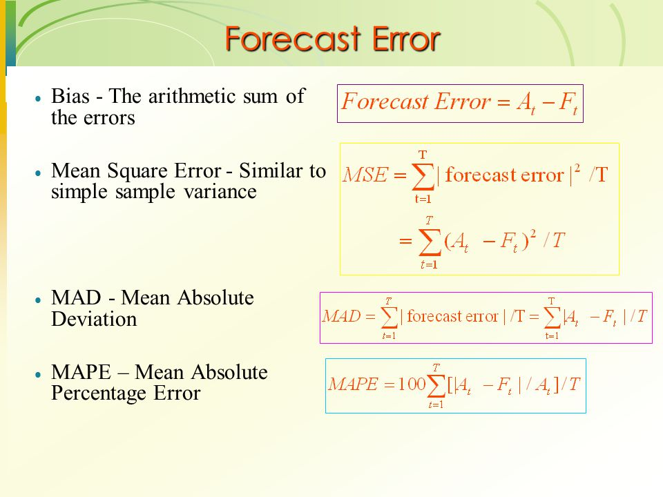 Forecast Error Bias - The arithmetic sum of the errors