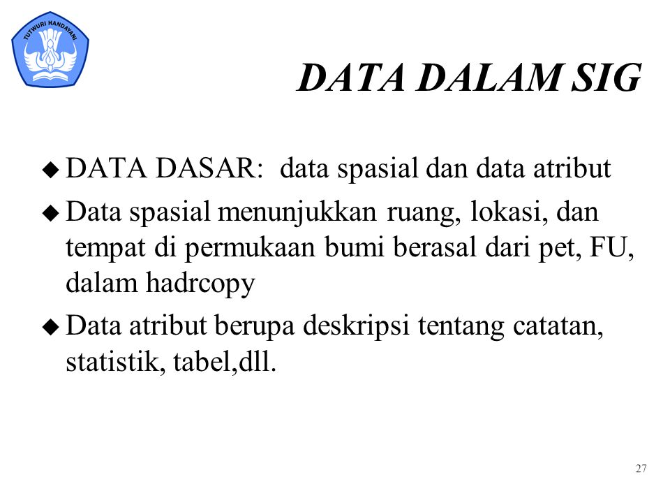 DATA DALAM SIG DATA DASAR: data spasial dan data atribut