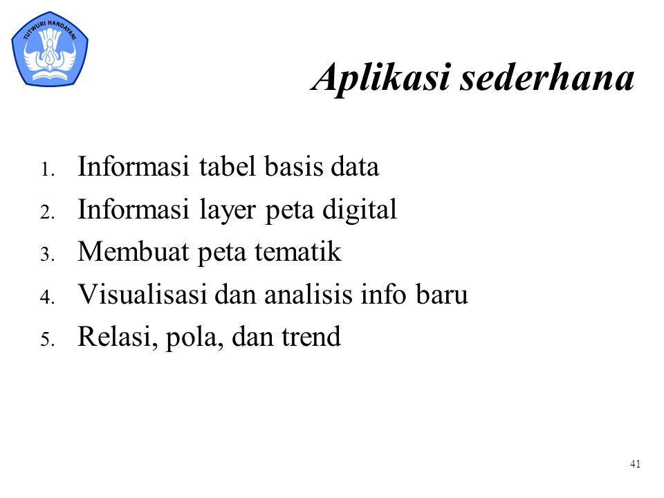 Aplikasi sederhana Informasi tabel basis data