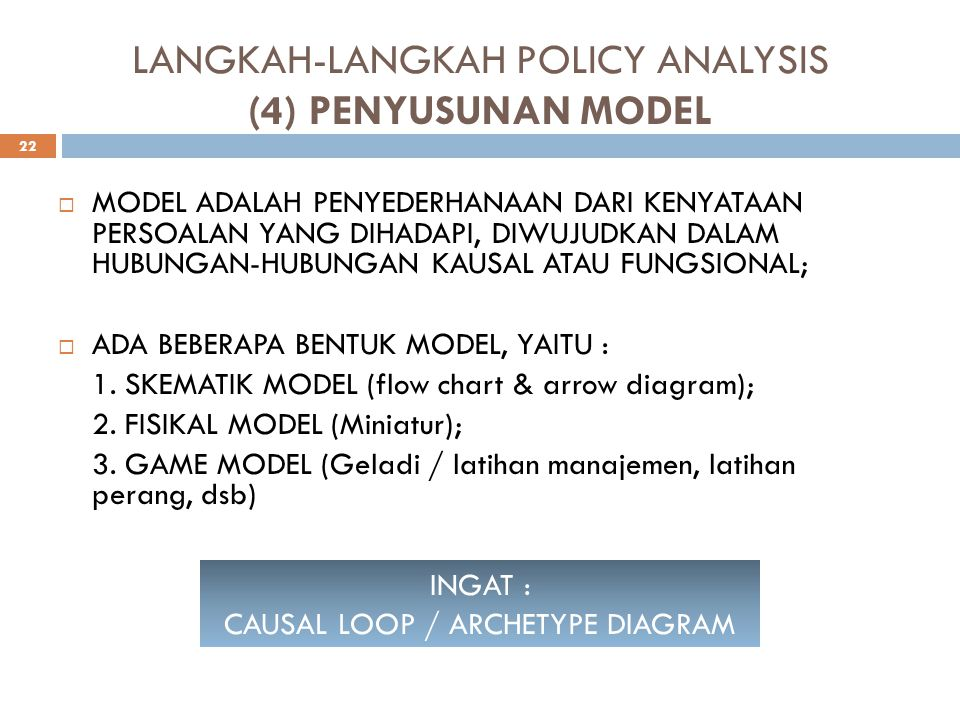 LANGKAH-LANGKAH POLICY ANALYSIS (4) PENYUSUNAN MODEL