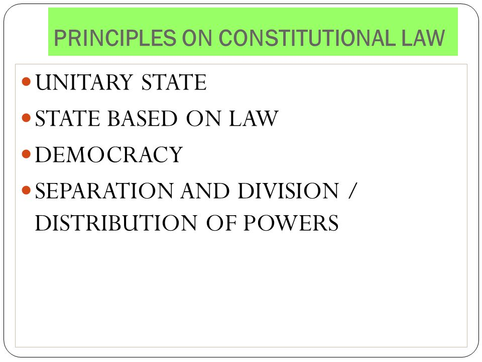 PRINCIPLES ON CONSTITUTIONAL LAW
