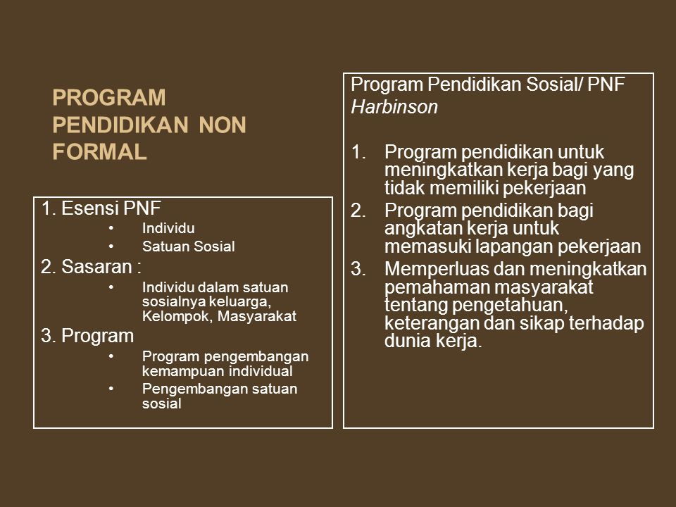 PROGRAM PENDIDIKAN NON FORMAL
