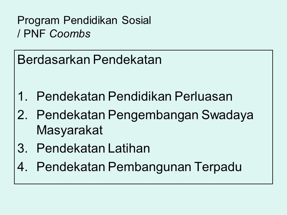 Program Pendidikan Sosial / PNF Coombs