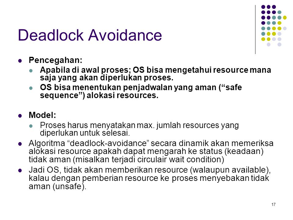 Deadlock Avoidance Pencegahan: Model: