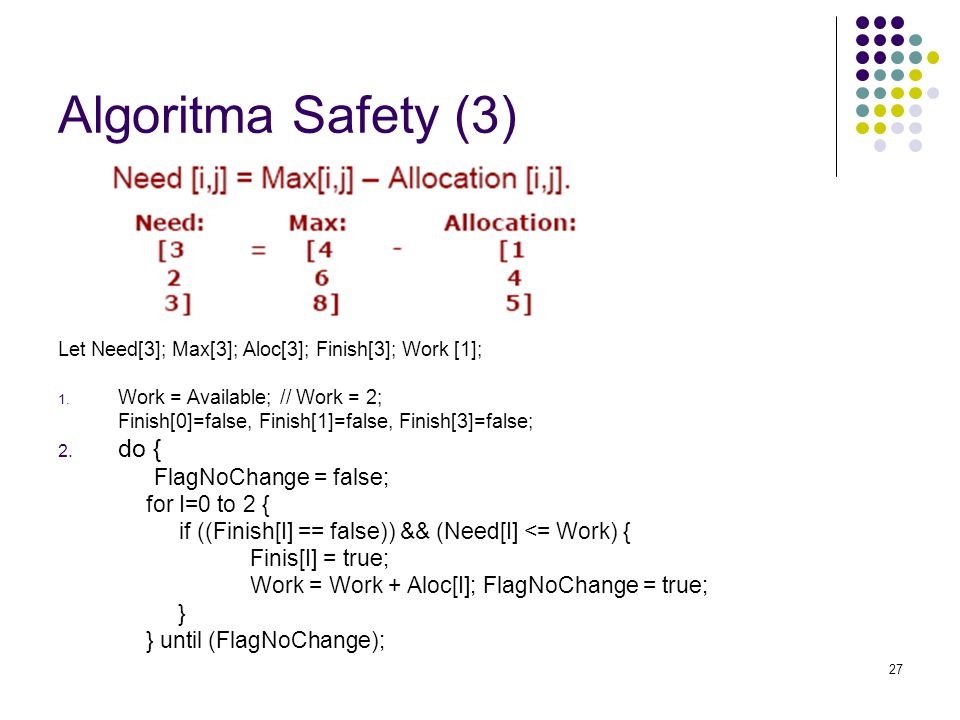 Algoritma Safety (3) do { for I=0 to 2 {
