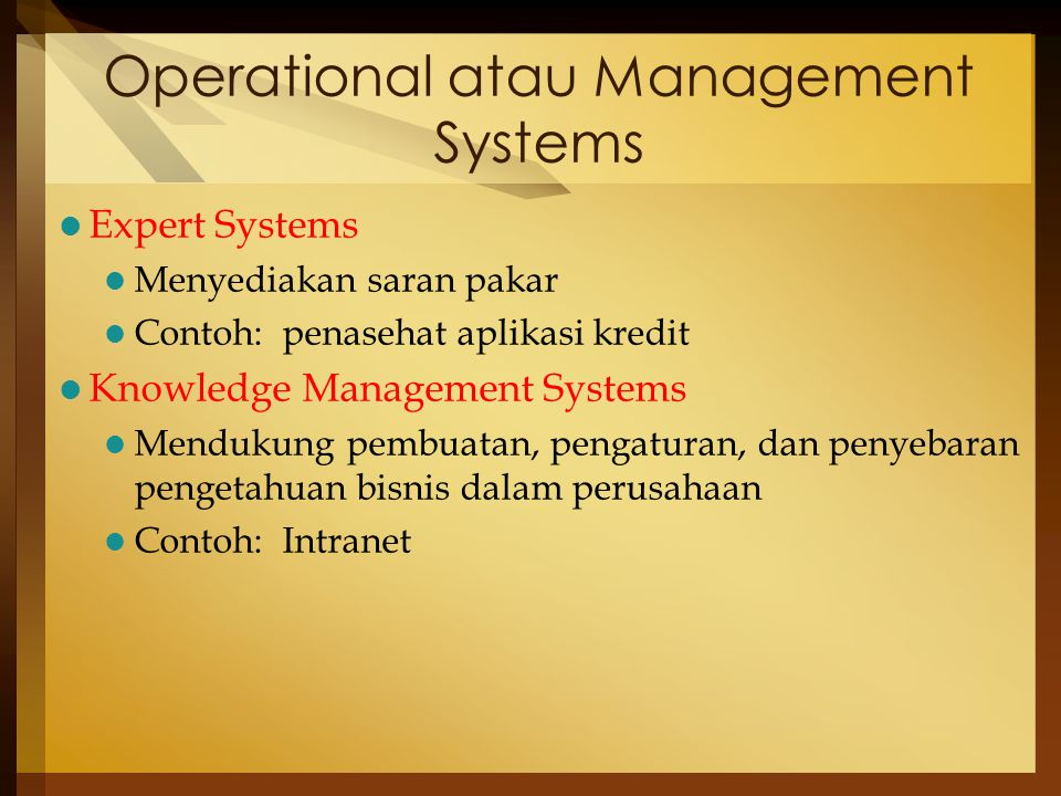 Operational atau Management Systems