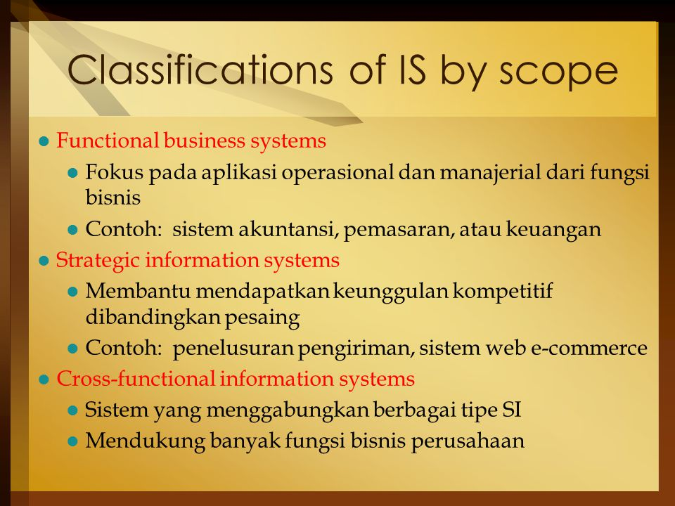 Classifications of IS by scope