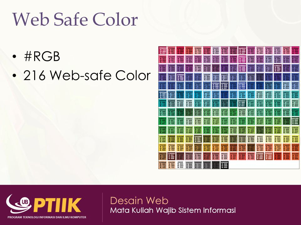 Web Safe Color #RGB 216 Web-safe Color