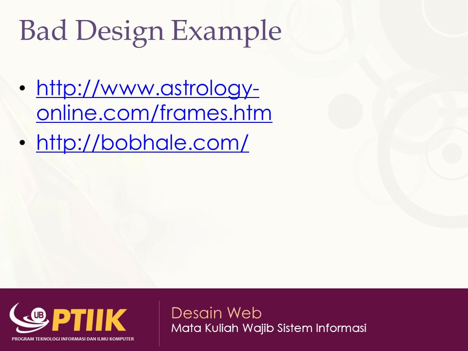 Bad Design Example http://www.astrology-online.com/frames.htm