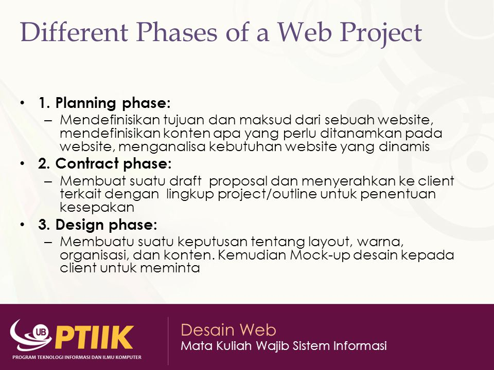 Different Phases of a Web Project