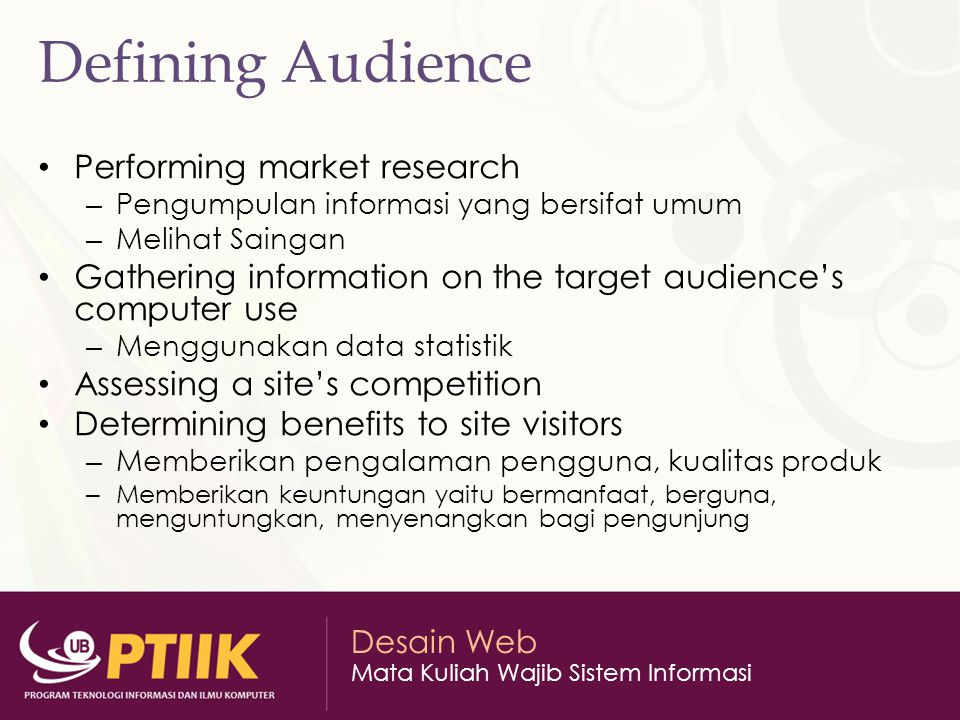 Defining Audience Performing market research