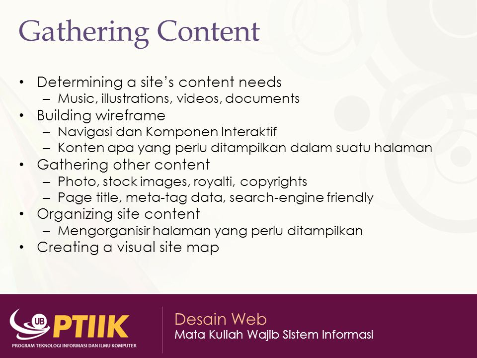 Gathering Content Determining a site's content needs