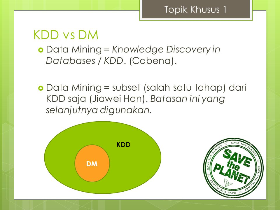 Topik Khusus 1 KDD vs DM. Data Mining = Knowledge Discovery in Databases / KDD. (Cabena).