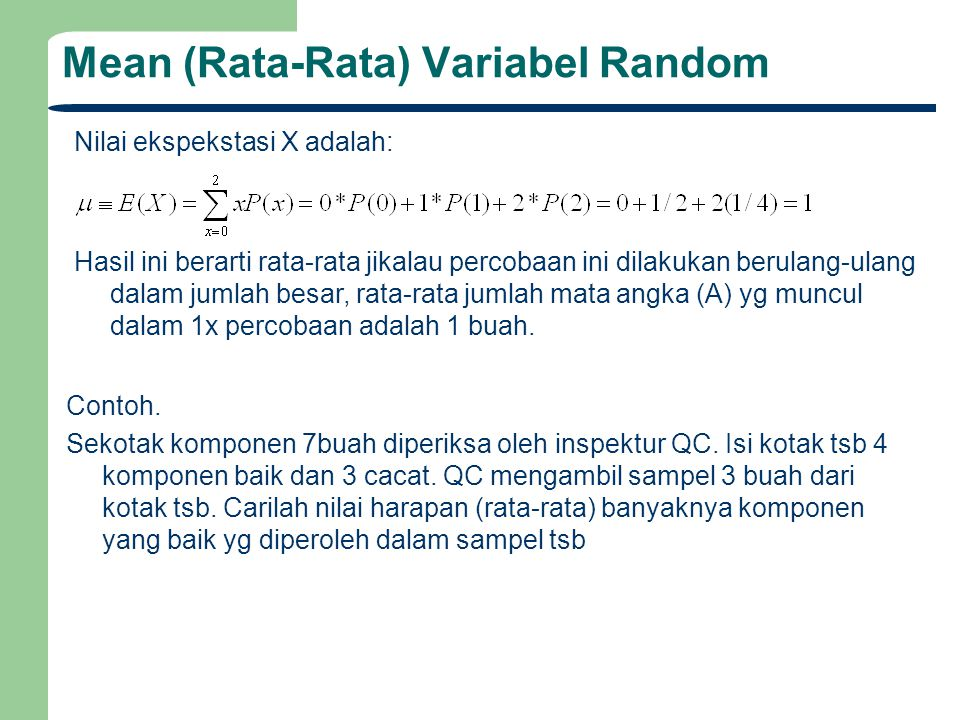 Mean (Rata-Rata) Variabel Random