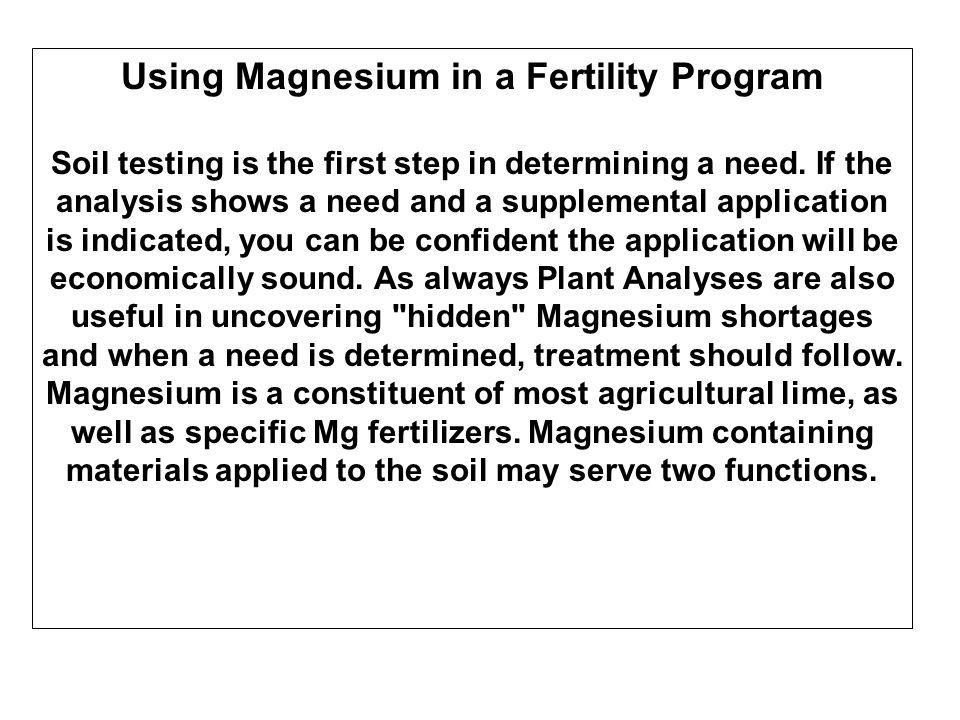 Using Magnesium in a Fertility Program