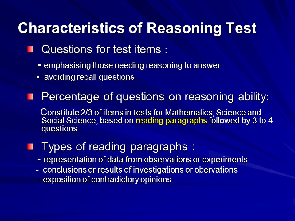 Characteristics of Reasoning Test