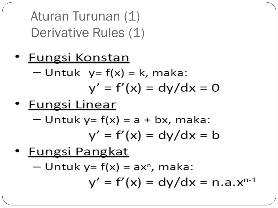 Aturan Turunan (1) Derivative Rules (1)
