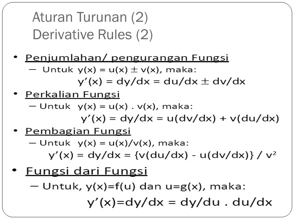 Aturan Turunan (2) Derivative Rules (2)