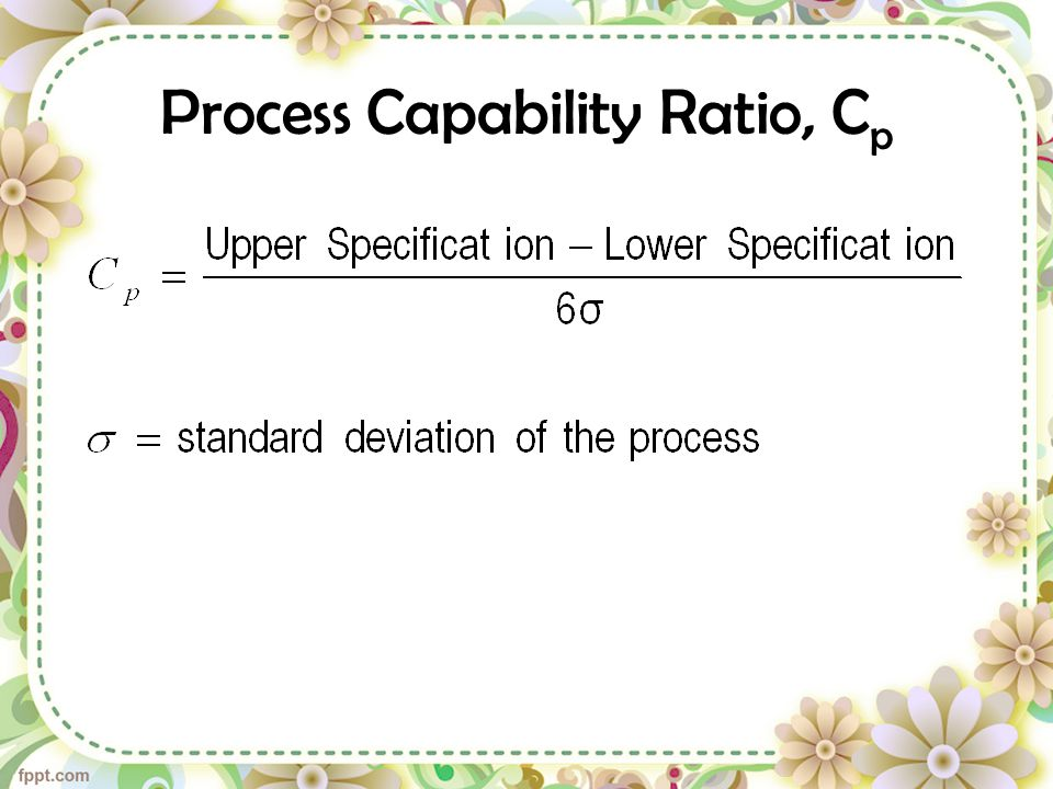 Process Capability Ratio, Cp