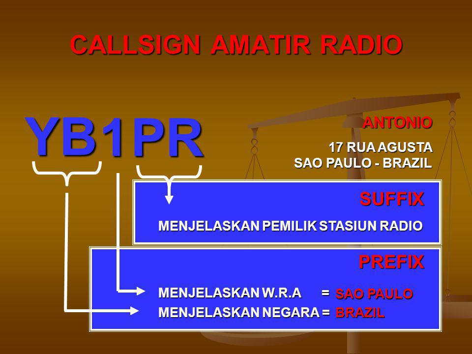 YB 1 PR CALLSIGN AMATIR RADIO SUFFIX PREFIX ANTONIO