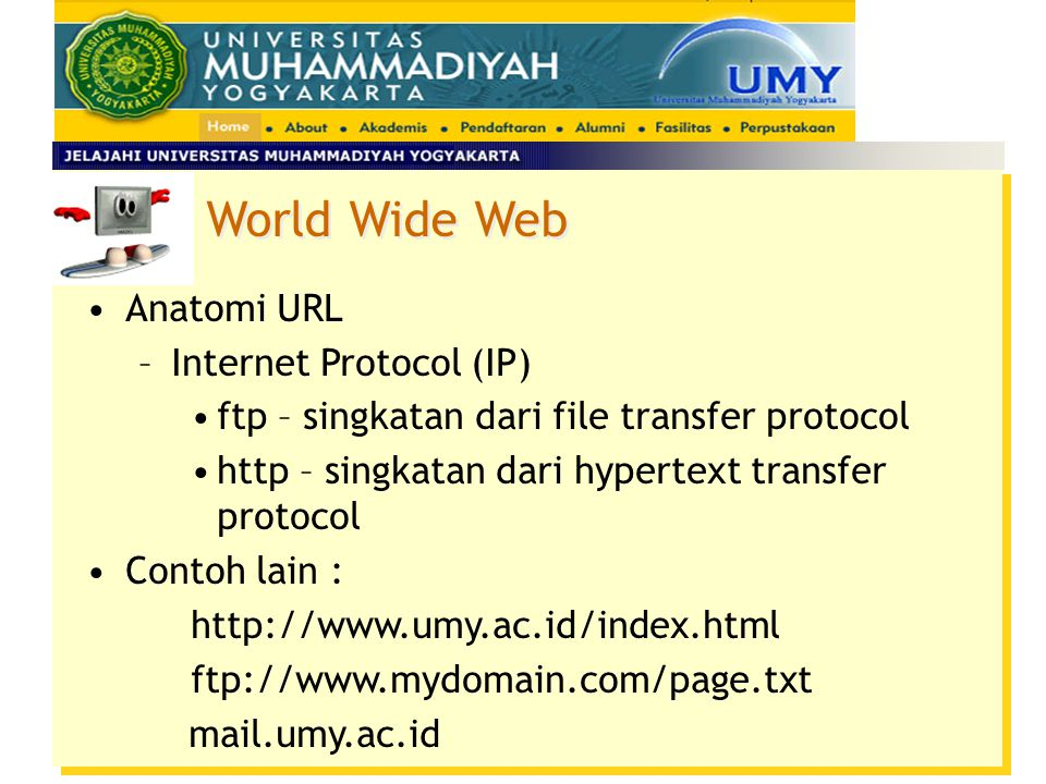 World Wide Web Anatomi URL Internet Protocol (IP)