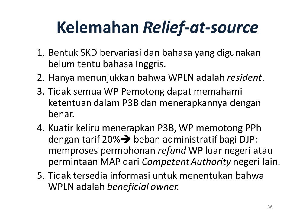 Kelemahan Relief-at-source