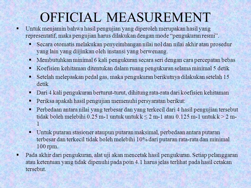 OFFICIAL MEASUREMENT