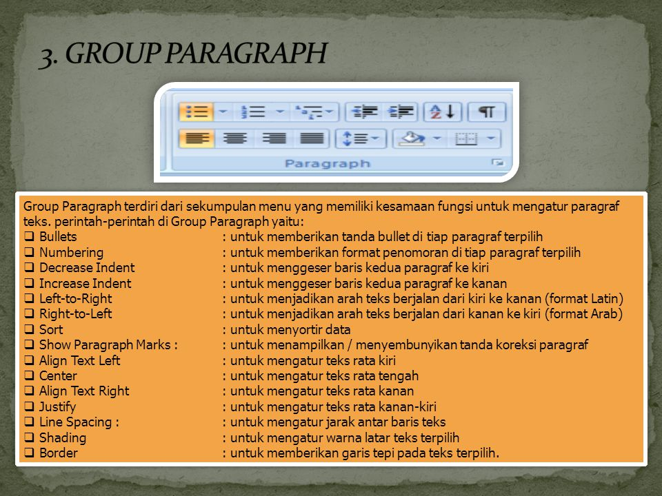 3. GROUP PARAGRAPH