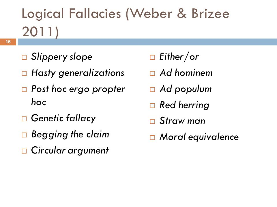 Logical Fallacies (Weber & Brizee 2011)