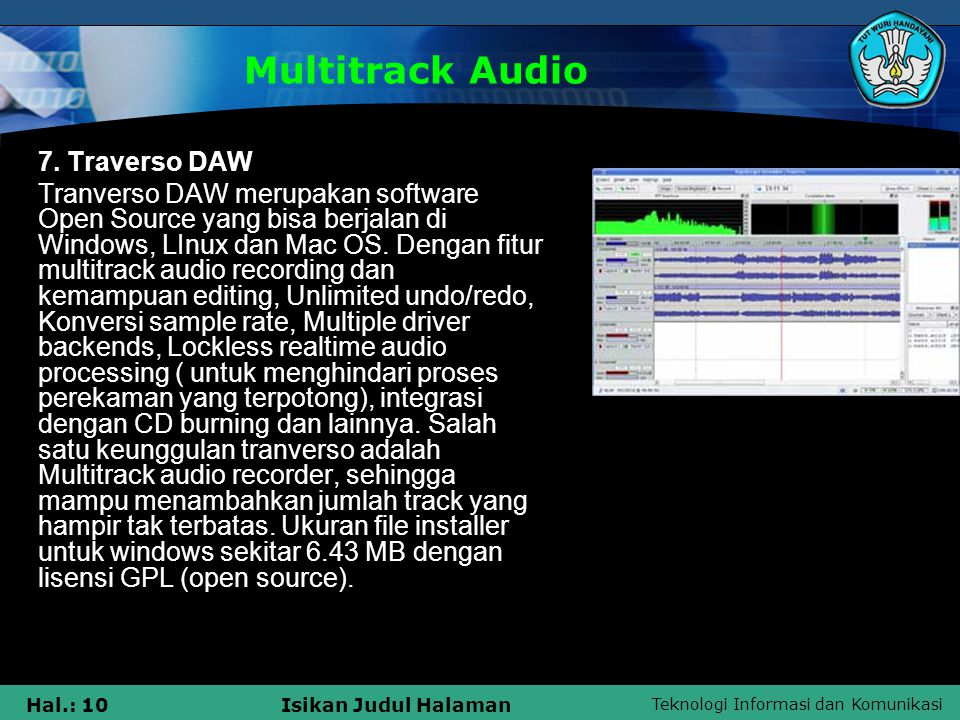 Multitrack Audio 7. Traverso DAW