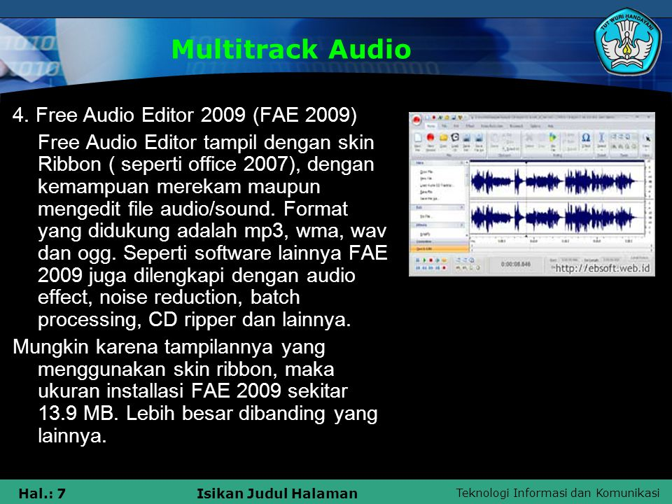 Multitrack Audio 4. Free Audio Editor 2009 (FAE 2009)