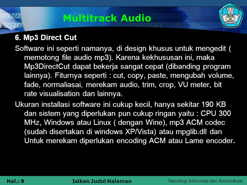 Multitrack Audio 6. Mp3 Direct Cut