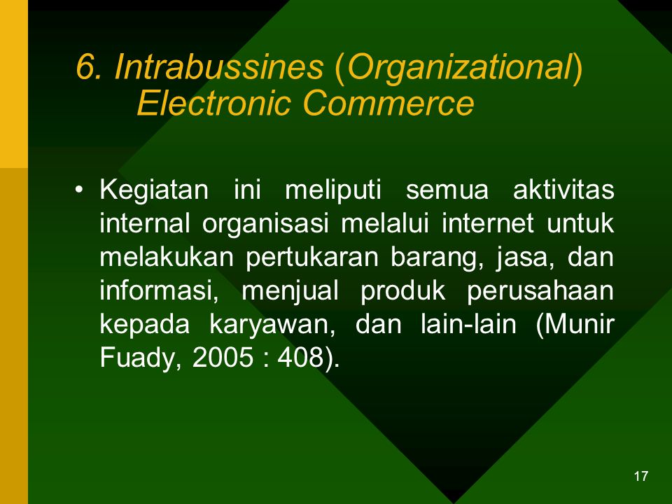 6. Intrabussines (Organizational) Electronic Commerce