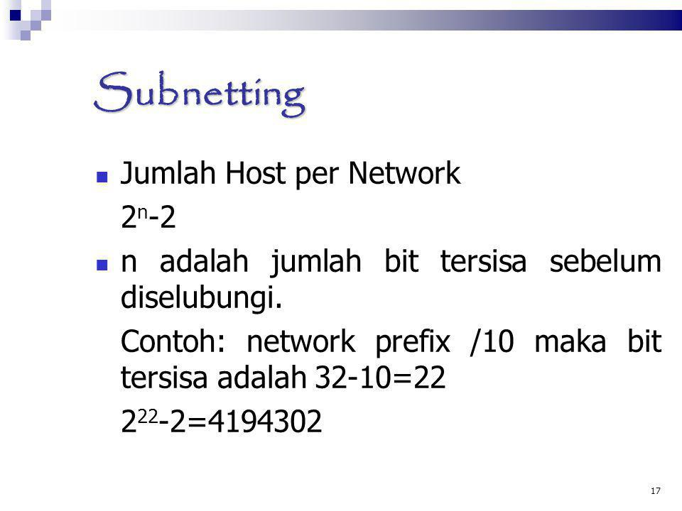 Subnetting Jumlah Host per Network 2n-2