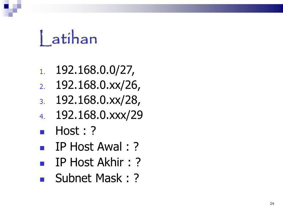 Latihan Host : IP Host Awal : IP Host Akhir : Subnet Mask :